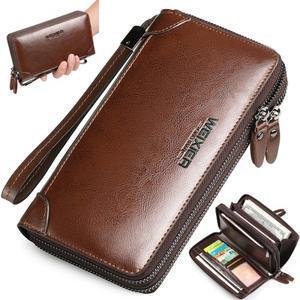 Weix peněženka z pravé kůže s přihrádkami - hnědá - 1