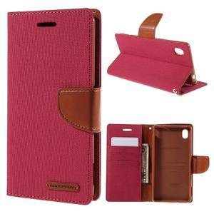 Canvas textilní/koženkové pouzdro na Sony Xperia M4 Aqua - červené - 1
