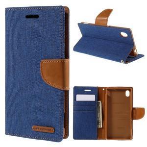 Canvas textilní/koženkové pouzdro na Sony Xperia M4 Aqua - modré - 1