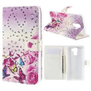 Peněženkové pouzdro s třpytivými flitry pro Huawei Honor 7 - květinoví motýlci - 1