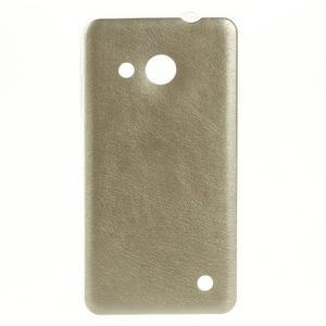 Gelový obal s jemnou koženkou na Microsoft Lumia 550 - zlatý - 1