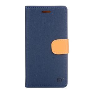 Cloth textilní/koženkové pouzdro na mobil Lenovo P70 - tmavěmodré - 1