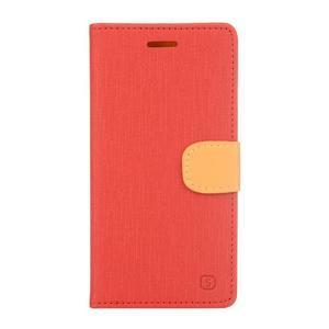 Cloth textilní/koženkové pouzdro na mobil Lenovo P70 - červené - 1