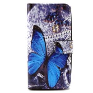 Peneženkové pouzdro na mobil LG G4c - modrý motýl - 1