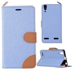 Jeans PU kožené/textilní pouzdro na mobil Lenovo A6000 - světlemodré - 1