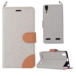 Jeans PU kožené/textilní pouzdro na mobil Lenovo A6000 - šedé - 1