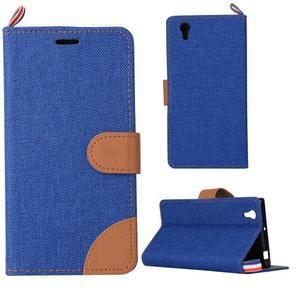 Jeans PU kožené/textilní pouzdro na mobil Lenovo P70 - tmavěmodré - 1