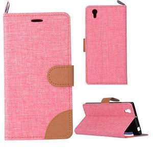 Jeans PU kožené/textilní pouzdro na mobil Lenovo P70 - růžové - 1
