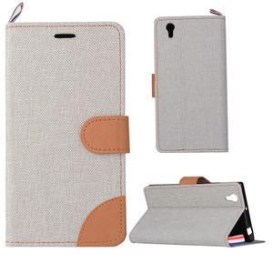 Jeans PU kožené/textilní pouzdro na mobil Lenovo P70 - šedé - 1