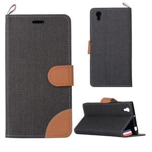 Jeans PU kožené/textilní pouzdro na mobil Lenovo P70 - černé - 1