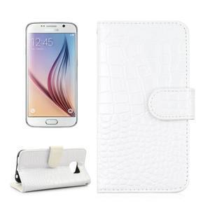 Croco motiv koženkového pouzdra na Samsung Galaxy S6 - bílé - 1