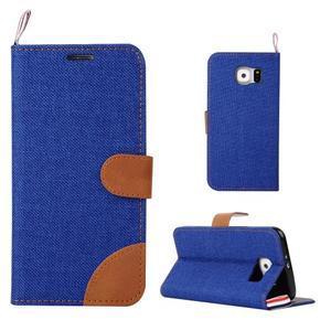 Jeans stylové textilní/PU kožené pouzdro na Samsung Galaxy S6 - modré - 1
