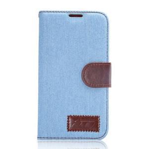 Cloth peněženkové pouzdro pro Samsung Galaxy S6 - světlemodré - 1