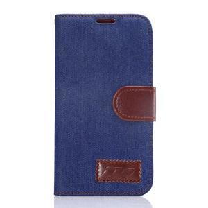Cloth peněženkové pouzdro pro Samsung Galaxy S6 - tmavěmodré - 1