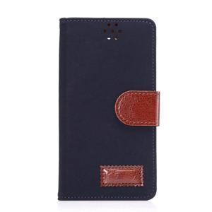 Business látkové/PU kožené pouzdro na Samsung Galaxy S6 - tmavěmodré - 1