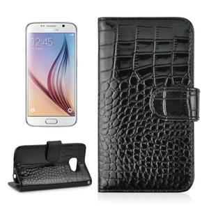 Croco motiv koženkového pouzdra na Samsung Galaxy S6 - černé - 1