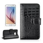 Croco motiv koženkového pouzdra na Samsung Galaxy S6 - černé - 1/7