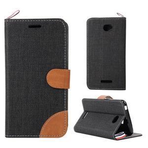 Jeans textilní/koženkové pouzdro na Sony Xperia E4 - černé - 1