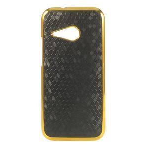 Plastový kryt se zlatým lemem na HTC One mini 2 - černý - 1