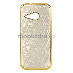 Plastový kryt se zlatým lemem na HTC One mini 2 - bílý - 1