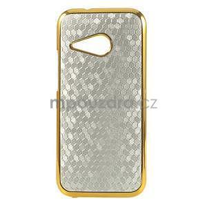 Plastový kryt se zlatým lemem na HTC One mini 2 - stříbrný - 1