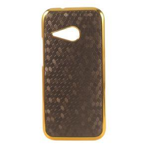 Plastový kryt se zlatým lemem na HTC One mini 2 - tmavě hnědý - 1