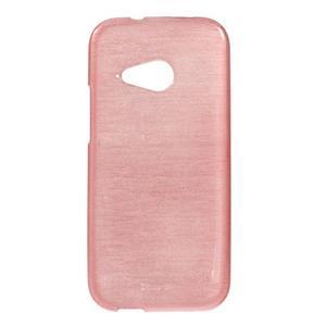 Broušený gelový obal na HTC One mini 2 - růžový - 1