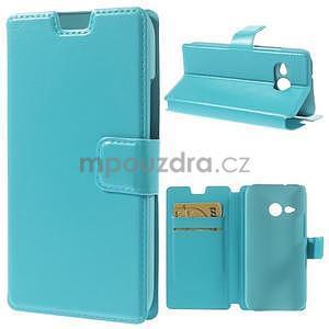 Tyrkysové peněženkové pouzdro na HTC One mini 2 - 1