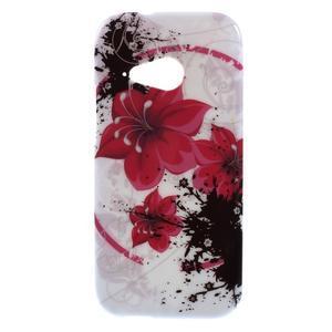 Gelový kryt na HTC One mini 2 - červené květiny - 1