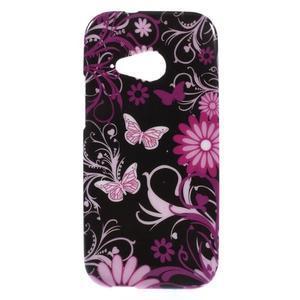 Gelový kryt na HTC One mini 2 - květiny a motýlci - 1