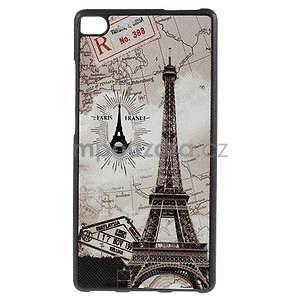 Gelový kryt s koženými zády na Huawei Ascend P8 - Eiffelova věž - 1