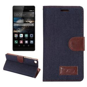 Stylové peněženkové pouzdro Jeans na Huawei Ascend P8 - černomodré - 1