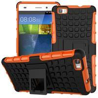 Outdoor odolný kryt 2v1 se stojánkem pro Huawei Ascend P8 Lite - oranžový - 1/2