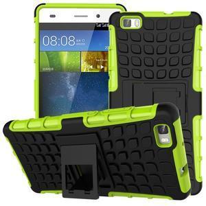 Outdoor odolný kryt 2v1 se stojánkem pro Huawei Ascend P8 Lite - zelený - 1