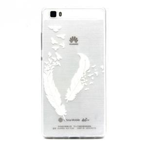 Transparentní gelový obal na Huawei Ascend P8 Lite - ptačí pírka - 1