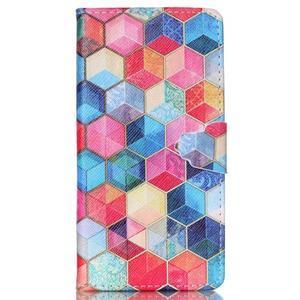 Pouzdro na mobil Huawei P8 Lite - barevné hexagony - 1