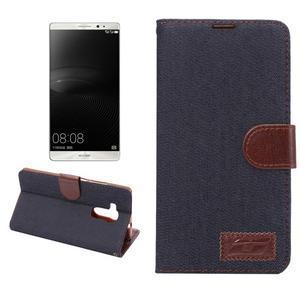 Jeans PU kožené puzdro na mobil Huawei Mate 8 - černomodré - 1