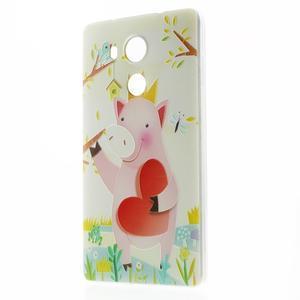 Softy gelový obal na mobil Huawei Mate 8 - zamilované prasátko - 1