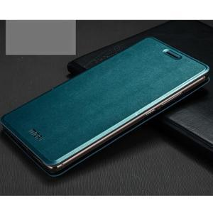 Vintage PU kožené pouzdro s kovovou výstuhou na Huawei Mate S - modré - 1