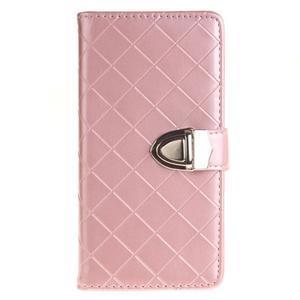 Luxury PU kožené peněženkové pouzdro na Huawei P9 Lite - růžové - 1