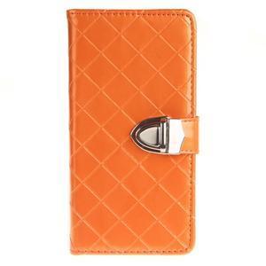 Luxury PU kožené peněženkové pouzdro na Huawei P9 Lite - oranžové - 1