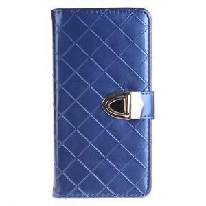 Luxury PU kožené peněženkové pouzdro na Huawei P9 Lite - modré - 1