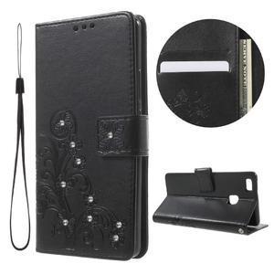Cloverleaf peněženkové pouzdro s kamínky na Huawei P9 Lite - černé - 1