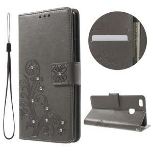 Cloverleaf peněženkové pouzdro s kamínky na Huawei P9 Lite - šedé - 1