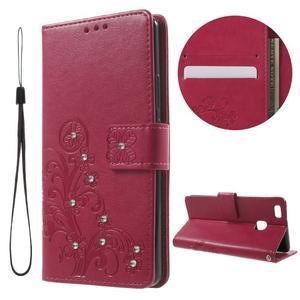 Cloverleaf peněženkové pouzdro s kamínky na Huawei P9 Lite - rose - 1