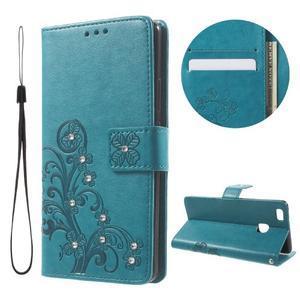 Cloverleaf peněženkové pouzdro s kamínky na Huawei P9 Lite - modré - 1