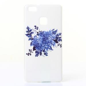 Jelly gelový obal na telefon Huawei P9 Lite - modrá kytice - 1