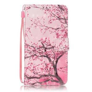 Knížkové PU kožené pouzdro na Huawei P9 Lite - kvetoucí strom - 1