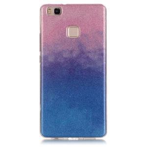 Gradient třpytivý gelový obal na Huawei P9 Lite - růžový/modrý - 1
