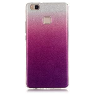 Gradient třpytivý gelový obal na Huawei P9 Lite - stříbrný/fialový - 1